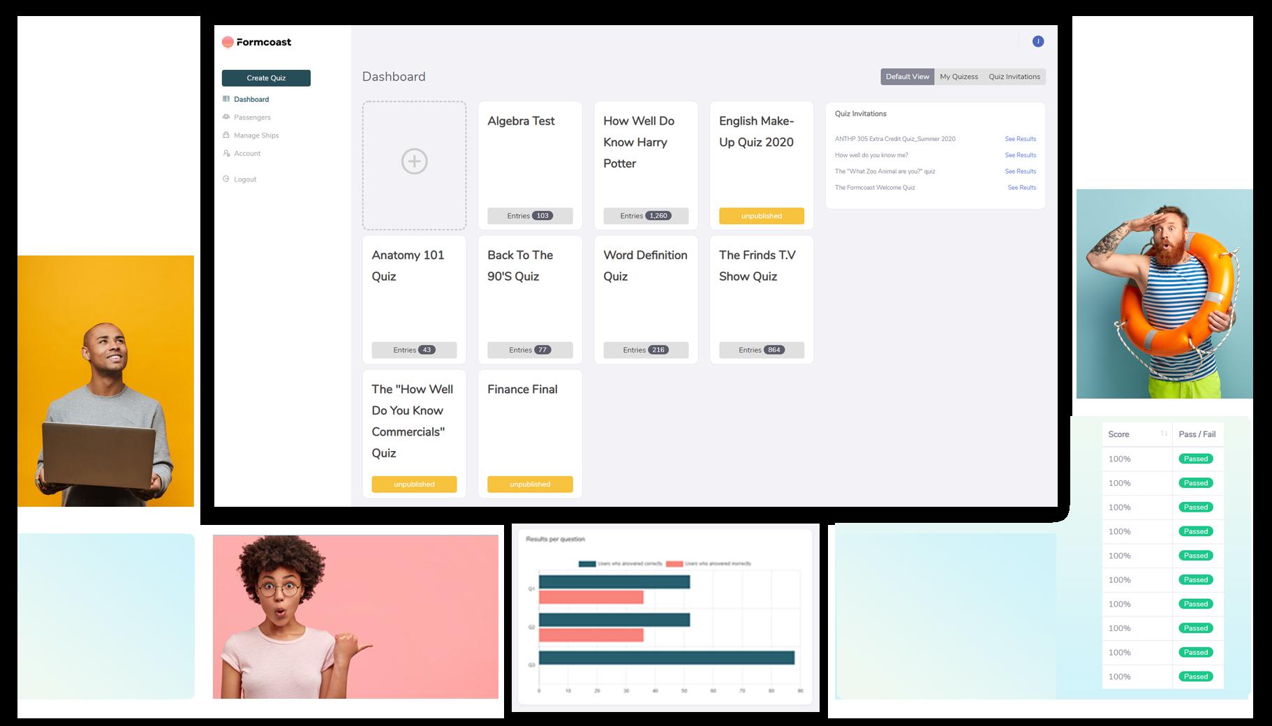 Formcoast Free Quiz Creator Data Analysis Teachers Home Dashboard